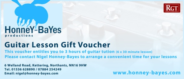Honney-Bayes Productions Electric and Acoustic Guitar Lesson Vouchers
